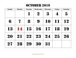 Printable October Calendar October 2019 Printable Calendar Free Download Monthly Calendar