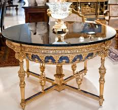glass top round foyer table decor glamour empire style round foyer table with gold and blu