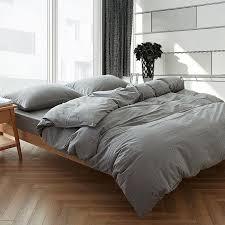 modern gray washed cotton duvet cover sets queen king size home soft plain dyed bedclothes pillowcase zipper bedding set black duvet covers duvet sets