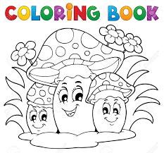 coloring book mushroom theme 2 vector ilration stock vector 18088563