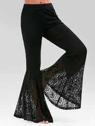 Bell Bottom Pants Design High Waisted Lace Insert Bell Bottom Pants Black 2xl