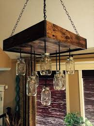 recycled pallet and mason jars chandelier