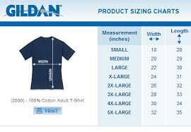 Online Shirt Size Chart Gildan Size Chart Gildan Activewear T Shirts Whole Sale