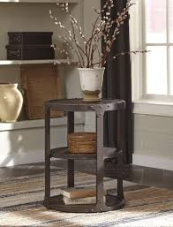 ashley t shofern round metal end accent table rustic brown finis on tribecca home galena industrial
