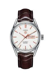 tag heuer carrera day date automatic men s brown leather strap watch
