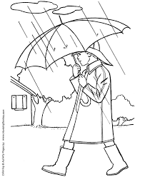 Spring Coloring Pages Kids Spring Boy With Umbrella Coloring Page