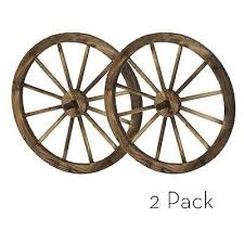 24 in steel rimmed wooden wagon wheels decorative wall decor set of two