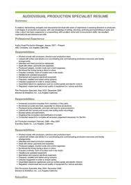 Audio Resume Sample Audiovisual Production Specialist Resume