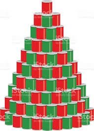 canned food clipart. stack of canned food as a christmas tree vector art illustration clipart
