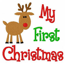 First Christmas Embroidery Design My First Christmas Reindeer Embroidery Design