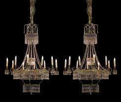 a pair of magnificent 12 light 19th century russian cobalt blue clear crystal and gilt chandeliers 3594