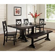 walker edison black 6 piece solid wood dining set with bench com