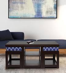 2 cushioned stools in indigo colour