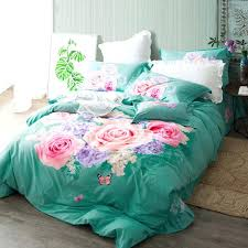 king size duvet cover pink rose print turquoise green bedding set queen covers bed sheets ikea