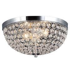 modern led light brushed nickel crystal flush mount chandelier for decorative home lighting ideas