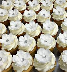 wedding cupcakes. custom sugar flower edible silver buttercream wedding cupcakes - fluffy thoughts cakes mclean va washington dc