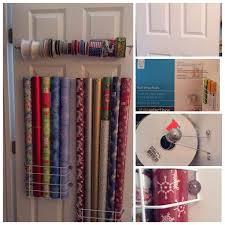 closet door wrapping paper organization for under 15 00 2 racks from lowe s for under wrapping paper organizationcurtain rod extendercurtain