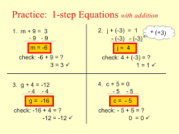 1 step equations with addition example 1 solve x 4 12 what is