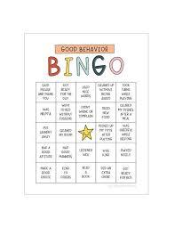Good Behavior Bingo Printable Chart Behavior Reward