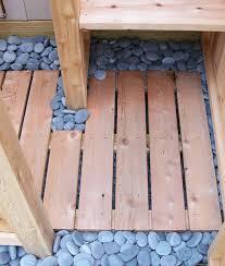 beach pebbles outdoor shower floor