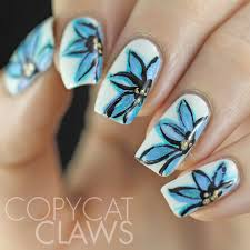 Blue Flower Nail Designs Freehand Blue Flower Nail Art Copycat Claws Flower Nails