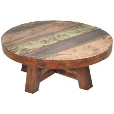 round natural wood coffee table