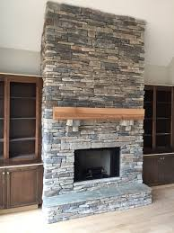 Cultured Stacked Stone Fireplace  Echo Ridge