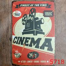 30x20cm cinema vintage home decor tin sign wall decor metal sign vintage art poster retro plaque plate in plaques signs from home garden on  on home cinema wall art uk with 30x20cm cinema vintage home decor tin sign wall decor metal sign