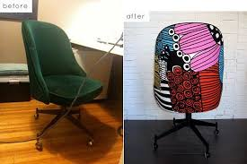 office chair reupholstery. Colorful Office Chair Makeover · View In Gallery Reupholstery