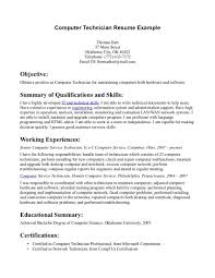 Computer Technician Resume Objective Computer Technician Resume Objective Examples Krida 7