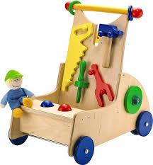 wooden baby walker haba walk along tool cart