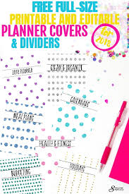 Free Full Size Printable And Editable Planner Covers And Dividers