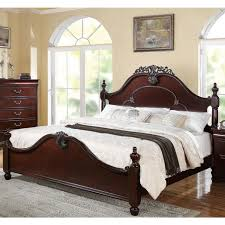 1pc eastern king size bed wooden gwyneth traditional bedroom antique style