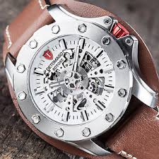 detomaso rotore mens watch automatic stainless steel brown leather image is loading detomaso rotore mens watch automatic stainless steel brown