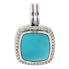 david yurman diamond sterling silver turquoise pendant for