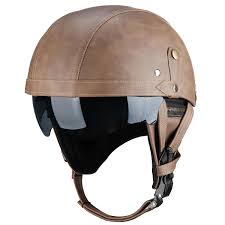 vintage leather half face motorcycle touring helmet cruiser scooter brown black cod