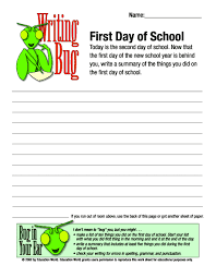 writing bug first day of school education world search form search first day of school