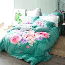 teal king size duvet cover pink rose print turquoise green bedding set queen king size duvet
