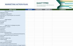 Gantt Chart For New Product Launch Marketing Action Plan Free Download Excel Template