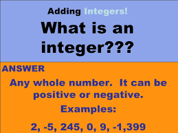 Integers Examples Adding Integers Using Number Chips