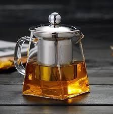 heat resistant glass stainless steel filter teapot square flower teapot high temperature glass tea set