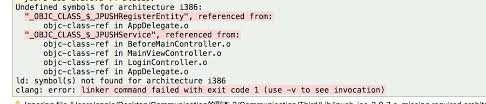 undefined symbols for architecture i386