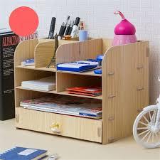creative home office desktop file holder storage box wooden multilayer shelf household desktop shelf m black free dealextreme