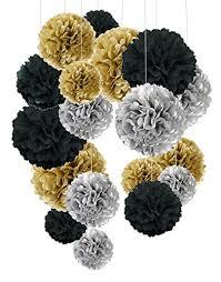Tissue Paper Pom Poms Flower Balls Tissue Paper Pom Poms Cocodeko Paper Flower Ball For Birthday Party Wedding Baby Shower Bridal Shower Festival Decorations 18 Pcs Black Gold And