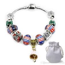 xmas mushroom pendants charm bracelets fit pandora girls crystal glass beads bangle silver snake chain jewelry gift kids p103 mom charm bracelet