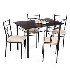 ikayaa 3pcs breakfast dining table set with 2 chairs kitchen bar set pact bistro set metal