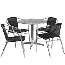 skara round 31 5 aluminum indoor outdoor table set w 4 black rattan