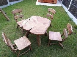 solid hand made wooden garden furniture table 4 chairs oak erdington west midlands