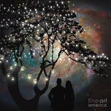 date night painting date night trees stars string of lights galaxy