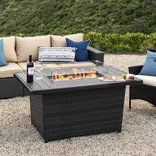 Best Choice Products 52in Outdoor Wicker Propane Fire Pit Table 50 000 Btu W Glass Wind Guard Tank Holder Cover Gray Walmart Com Propane Fire Pit Table Fire Pit Table Outdoor Fire
